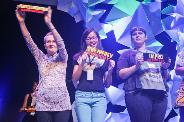 from left: Kaye Ross-People's Liberation Improv (Hong Kong), Hazel Ho-The Improv Company (Singapore) and Amy Currie-ImproMafia (Brisbane). The 3rd International Manila Improv Festival runs from July 8-12, 2015 at the PETA Theater Center. Photo by Jude Bautista.