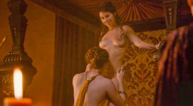 Maisie Dee as a gift to the king is tasted by Ros (Esmé Bianco).