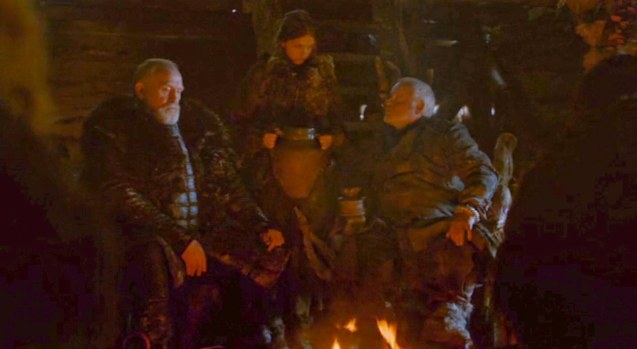 right: Craster (Robert Pugh) shows off Gilly (Hannah Murray) one of his dozen wives to Lord Commander Jeor Mormont (James Cosmo)