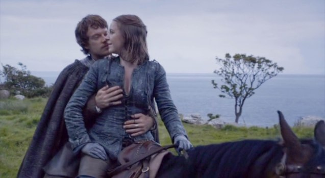 Theon Greyjoy (Alfie Allen) feels up his sister Yara (Gemma Whelan).