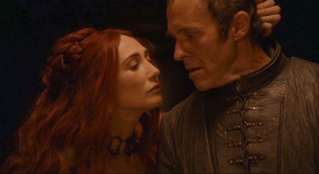 Priestess Melisandre (Carice Van Houten) seduces Stannis Baratheon (Stephen Dillane).
