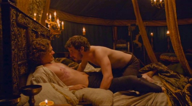 from right: King Renly Baratheon (Gethin Anthony) with his lover Sir Loras Tyrell (Finn Jones).