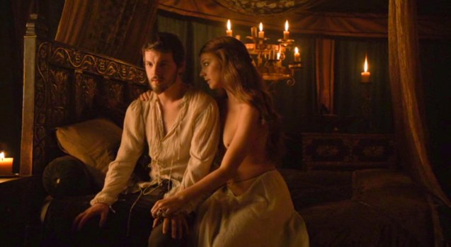 """I can turn around (gives her backside) and you can pretend I'm Loras. We can have him here… anything you need and want we will do, for you are King."" Margaery (Natalie Dormer) to King Renly Baratheon (Gethin Anthony)."