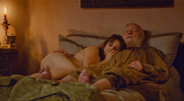 Grand Maester Pycell (Julian Glover) takes a whore (Maisie Dee)