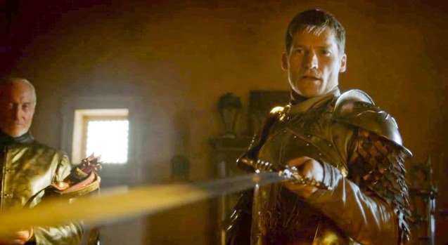 Jaime (Nikolaj Coster-Waldau) is given a sword made from Valerian steel by his father Tywin Lannister (Charles Dance)