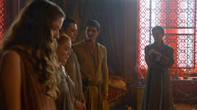 from right: Olyvar (Will Tudor) shows Prince Oberyn (Pedro Pascal) their selection of women at Lord Baelish' brothel.