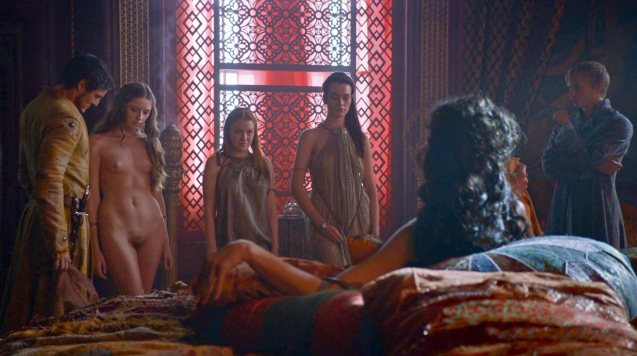 from right: Olyvar (Will Tudor) shows Prince Oberyn (Pedro Pascal) & Ellaria Sands (Indira Varma) their selection of women at Lord Baelish' brothel