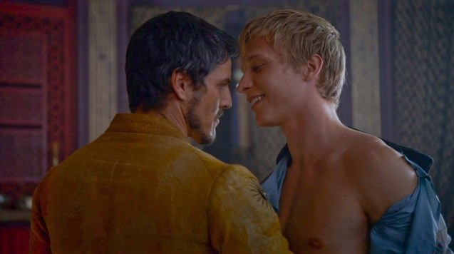 from left: Prince Oberyn (Pedro Pascal) insists on taking Olyvar (Will Tudor) to bed with him and Ellaria.