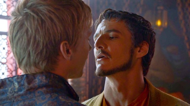 from right: Prince Oberyn (Pedro Pascal) insists on taking Olyvar (Will Tudor) to bed with him and Ellaria.