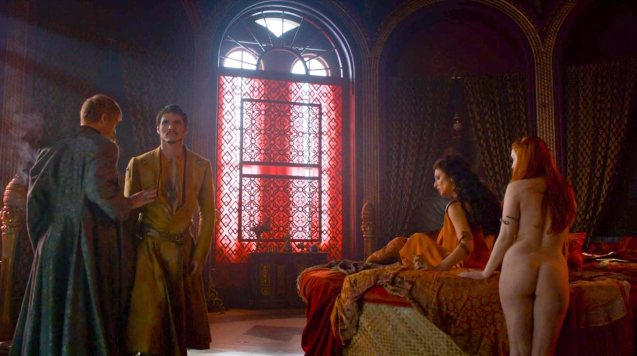 second from left: Prince Oberyn (Pedro Pascal) insists on taking Olyvar (Will Tudor) to bed with him and Ellaria.