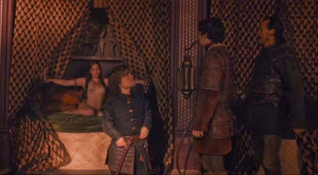 The Imp gifts his squire Podrick with the best whores in Baelish' brothel