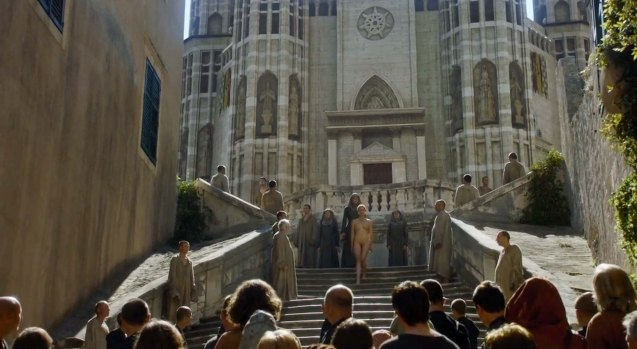 Queen regent Cersei (Lena Headey): in her 'Walk of Atonement' in season 5-Episode 10 –Mother's Mercy