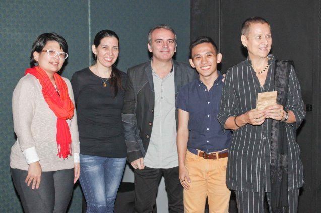 from left: FDCP Proj Coordinator Ina Avellan Cosio, PIA Proj Coordinator Cristina Moricca, Inst. Cervantes Head of Cultural Affairs Jose Fons, Japan Foundation Prog Coordinator Cyril Constantino & Goethe Inst Dir. Petra Raymond. Watch Silent films for free w top musicians providing live soundtrack on the 9th Silent film Festival at Shang Cineplex, Shang Rila Plaza from August 27-30, 2015. Photo by Jude Bautista
