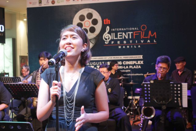 Marie Puyat of The Executives Band at the EAST WING of Shang Plaza during cocktails before the opening. Watch Silent films for free w top musicians providing live soundtrack on the 9th Silent film Festival at Shang Cineplex, Shang Rila Plaza from August 27-30, 2015. Photo by Jude Bautista