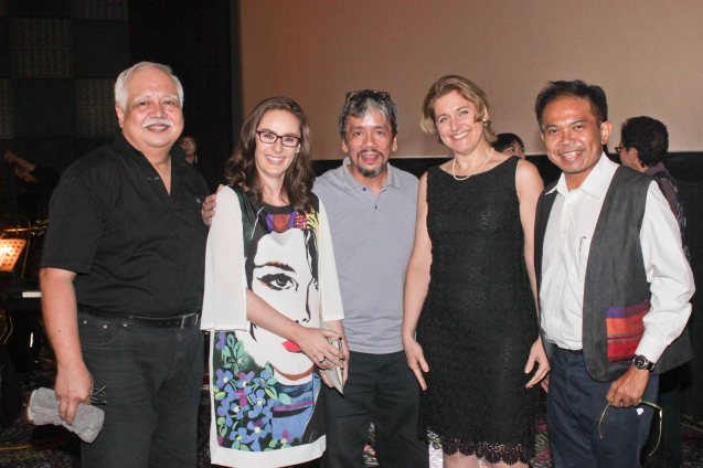 from left: The Executives musical director Butch Silverio, Austrian Cultural Attaché Lisbeth Strohmeier, composer Butch Roxas, Austrian Chargée d'Affaires Gabriele Zobl-Kratschmann and keyboardist Martin Macalintal. Watch Silent films for free w top musicians providing live soundtrack on the 9th Silent film Festival at Shang Cineplex, Shang Rila Plaza from August 27-30, 2015. Photo by Jude Bautista