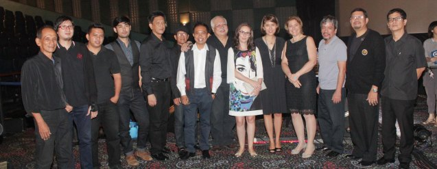 The Executives Band with Austrian Cultural Attaché Lisbeth Strohmeier and Austrian Chargée d'Affaires Gabriele Zobl-Kratschmann. Watch Silent films for free w top musicians providing live soundtrack on the 9th Silent film Festival at Shang Cineplex, Shang Rila Plaza from August 27-30, 2015. Photo by Jude Bautista