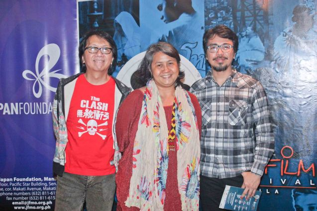 Claire Agbayani with The Dawn from left: Rommel 'Sancho' Sanchez and Buddy Zabala. Watch Silent films for free w top musicians providing live soundtrack on the 9th Silent film Festival at Shang Cineplex, Shang Rila Plaza from August 27-30, 2015. Tickets will be given on a first come first served basis so check out schedules and make sure to go early. Photo by Jude Bautista