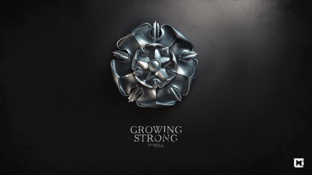 House Tyrell sygil with motto: Growing Strong- Wallpaper by Sasha Vinogradova http://melaamory.deviantart.com/gallery/?offset=72
