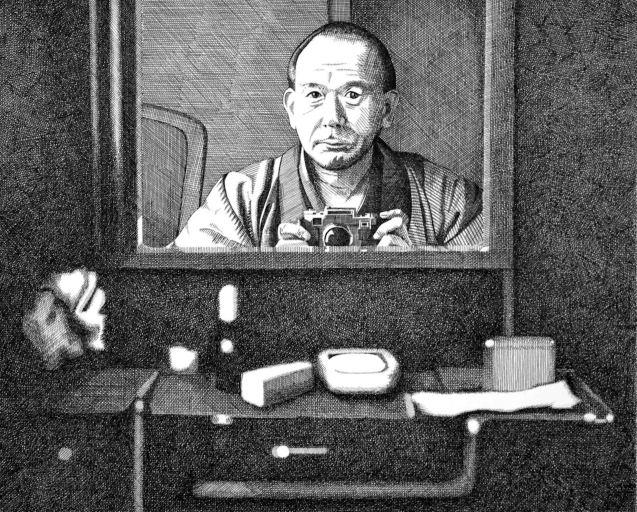 Yasujiro Ozu by Bren Luke Art http://brenluke.tumblr.com/post/110404253892/yasujir%C5%8D-ozu-self-portrait-after-ozu-ink-on