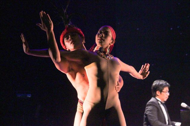 foreground: Lobreza Pimentel and Peter San Juan of Phil Ballet Theater and perform AWIT NI BUGAN from CHANTED JOURNEYS choreographed by Gener Caringal. Jesse Lucas FULL RANGE is part of the TRIPLE THREATS series The composers at CCP Tanghalang Aurelio Tolentino last August 20, 2015. Photo by Jude Bautista