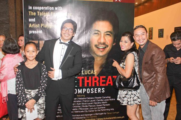 from right: Eric & Tex Ordoñez, Jesse Lucas and Lian Ordoñez. Jesse Lucas FULL RANGE is part of the TRIPLE THREATS series The composers at CCP Tanghalang Aurelio Tolentino last August 20, 2015. Photo by Jude Bautista