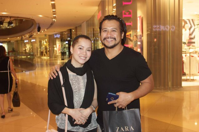 HENERAL LUNA's Lorenz Martinez and lovely wife Shiela Valderrama-Martinez at the East Wing of Shang Plaza Mall. Watch European films for free in Cine Europa 18 at Shang Cineplex, Shangri La Plaza Mall from September 10-20, 2015. Photo by Jude Bautista