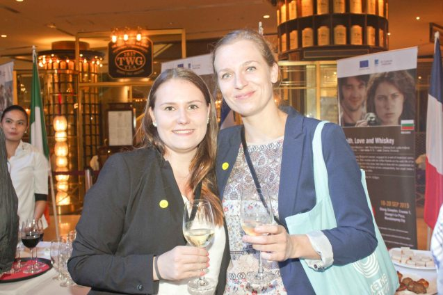 from right: Goethe-Institut Press Relations Office Stefanie Gersdorf and intern Melanie Piser. Watch European films for free in Cine Europa 18 at Shang Cineplex, Shangri La Plaza Mall from September 10-20, 2015. Photo by Jude Bautista