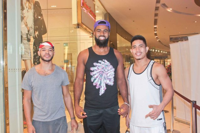 Fresh from silver medal finish at Jones Cup Moala D. Tautuaa Jr. (center) goes malling at the Shang Plaza East Wing with Justin Melton of Star Hotshots (left). Watch PUPPYLOVE and many European films for free in Cine Europa 18 at Shang Cineplex, Shangri La Plaza Mall from September 10-20, 2015. Photo by Jude Bautista
