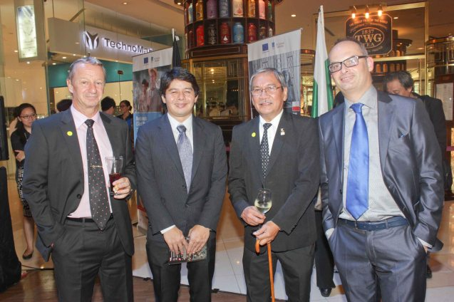 from right: EU Delegation First Sec Jerome Riviere, FDCP Exec Dir Teddy Granados, EU Info Officer Robert Leon and Swiss Counselor and Deputy Head of Mission Raoul Imbach. Watch European films for free in Cine Europa 18 at Shang Cineplex, Shangri La Plaza Mall from September 10-20, 2015. Photo by Jude Bautista