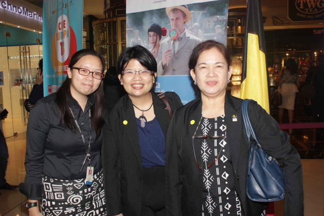 from left: Shang Mktg officer MJ Mendoza, FDCP Proj Dev Officer Ina Avellana Cosio and FDCP Head of Cinema Evaluation & Coordination Wilma Isleta. Watch PUPPYLOVE and many European films for free in Cine Europa 18 at Shang Cineplex, Shangri La Plaza Mall from September 10-20, 2015. Photo by Jude Bautista