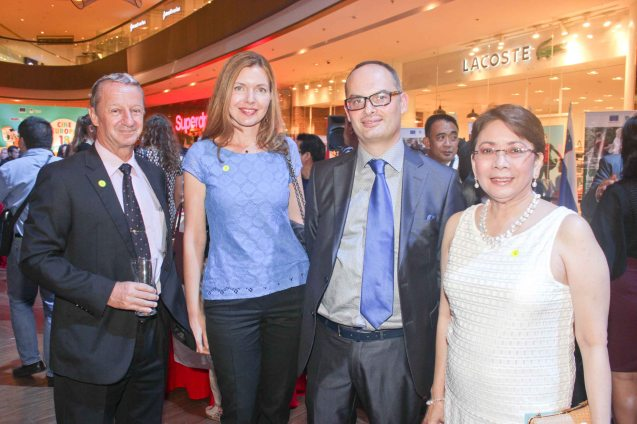 from right: Shangri La Plaza GM & EVP Lala Fojas, EU Delegation First Sec Jerome Riviere, French Counselor for Political Affairs Christine Carole and Swiss Counselor and Deputy Head of Mission Raoul Imbach. Watch PUPPYLOVE and many European films for free in Cine Europa 18 at Shang Cineplex, Shangri La Plaza Mall from September 10-20, 2015. Photo by Jude Bautista