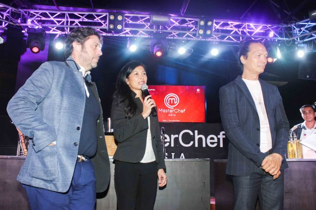 from left: Chef Bruno Ménard, Audra Morrice & Chef Susur Lee. MasterChef Asia visited URBN Bar & Kitchen 28th St, Bonifacio Global City, Taguig. Photo by Jude Bautista