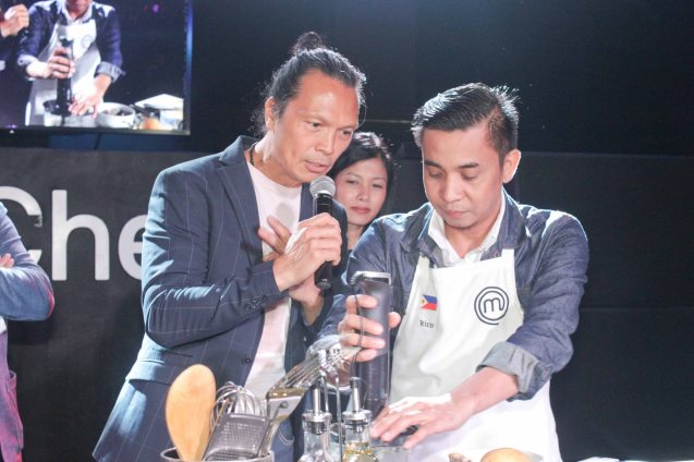 Chef Susur interviews Rico Amancio in the heat of competition. MasterChef Asia visited URBN Bar & Kitchen 28th St, Bonifacio Global City, Taguig. Photo by Jude Bautista