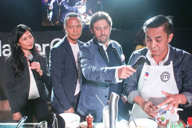 from left: Audra Morrice, Chef Susur Lee, Chef Bruno Ménard & Rico Amancio. MasterChef Asia visited URBN Bar & Kitchen 28th St, Bonifacio Global City, Taguig. Photo by Jude Bautista