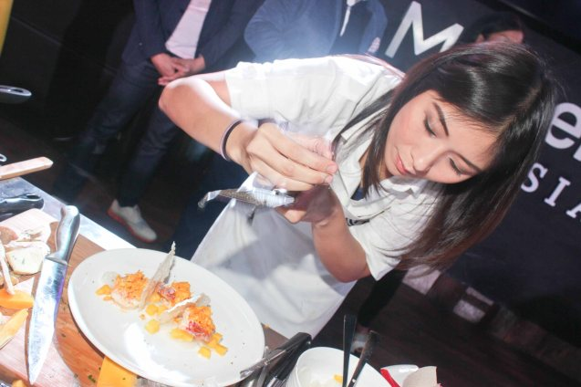 Lica Ibarra adds finishing touch to her creation. MasterChef Asia visited URBN Bar & Kitchen 28th St, Bonifacio Global City, Taguig. Photo by Jude Bautista