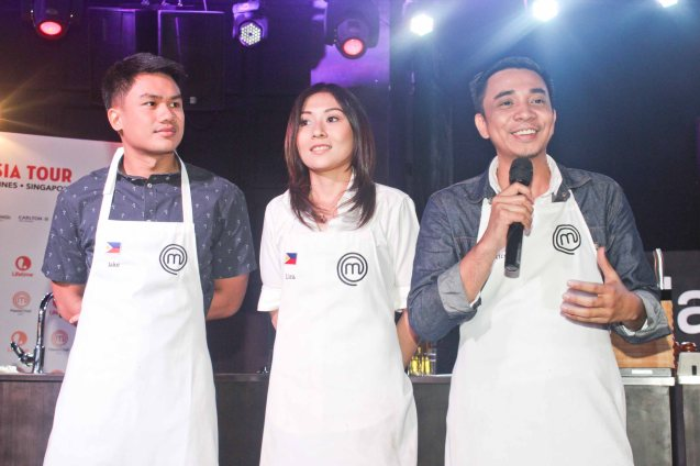 Pinoy competitors from right: Rico Amancio, Lica Ibarra & Jake Aycardo. MasterChef Asia visited URBN Bar & Kitchen 28th St, Bonifacio Global City, Taguig. Photo by Jude Bautista