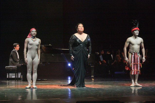 from left: Jesse Lucas, Lobreza Pimentel, Camille Lopez-Molina and Peter San Juan perform AWIT NI BUGAN from CHANTED JOURNEYS choreographed by Gener Caringal. Jesse Lucas FULL RANGE is part of the TRIPLE THREATS series The composers at CCP Tanghalang Aurelio Tolentino last August 20, 2015. Photo by Jude Bautista