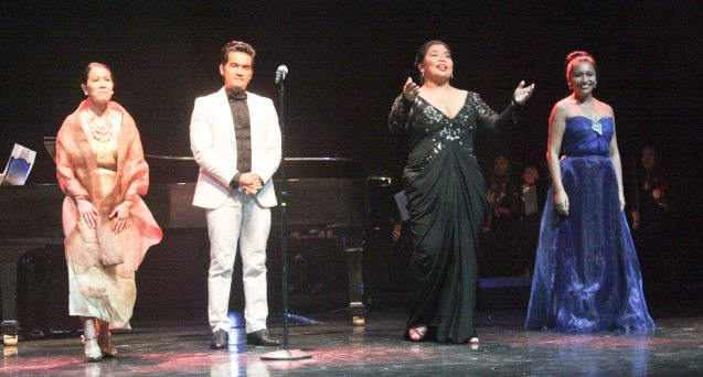 from right: Banaue Miclat Janssen, Camile Lopez Molina, Al Gatmaitan and Rica Nepomuceno. Jesse Lucas FULL RANGE is part of the TRIPLE THREATS series-the composers at CCP Tanghalang Aurelio Tolentino last August 20, 2015. Photo by Jude Bautista