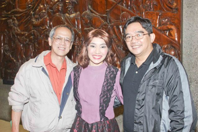 from left: TP Artistic Dir. Nanding Josef, Regina De Vera with Director/ playwright Dannis Marasigan during Tanghalang Pilipino's KAMA, March 26, 2015. Photo by Jude Bautista