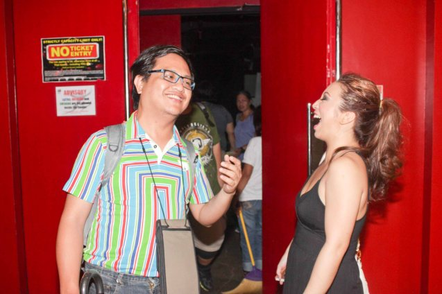 Jed Balsamo and Caisa Borromeo whoop it up after KUNG PAANO AKO NAGING LEADING LADY at the PETA Theater Center last May 7, 2015. Photo by Jude Bautista
