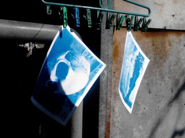Cyano prints are hung to dry. Chris Lucas' photo exhibit AGAINST THE FLOW will run from October 16-31 at the Kamuning Gallery & Café- No. 43 Judge Jimenez Street corner K- 1st Street, Kamuning, Quezon City. Photo from kalyepilipinas.tumblr.com