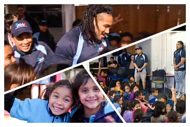 top left: SKIDS Manager George Bautista w ALL BLACKS team member and SKIDS endorser Ma'a Nonu