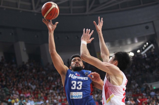 Ranidel De Ocampo semi-hook; FIBA Asia Finals game PHI v CHINA October 3, 2015 at the Changsha Social Work College, Chang Sha, China. Photo from FIBA.com.
