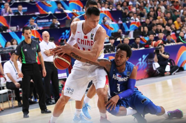 Calvin Abueva attempts steal on Yi Jian Lian; FIBA Asia Finals game PHI v CHINA October 3, 2015 at the Changsha Social Work College, Chang Sha, China. Photo from FIBA.com.