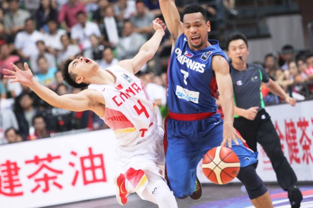 Ji Wei Zhao flops on Jayson Castro; FIBA Asia Finals game PHI v CHINA October 3, 2015 at the Changsha Social Work College, Chang Sha, China. Photo from FIBA.com.