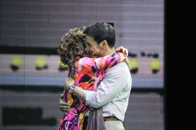 Mark Bautista (Nico Escobar) hugs Cris Villonco (Lavinia Arguelles). BITUING WALANG NINGNING is running at the Newport Performing Arts Theater, Resorts World Manila from October 8, 2015 to January 2016. Photo by Jude Bautista