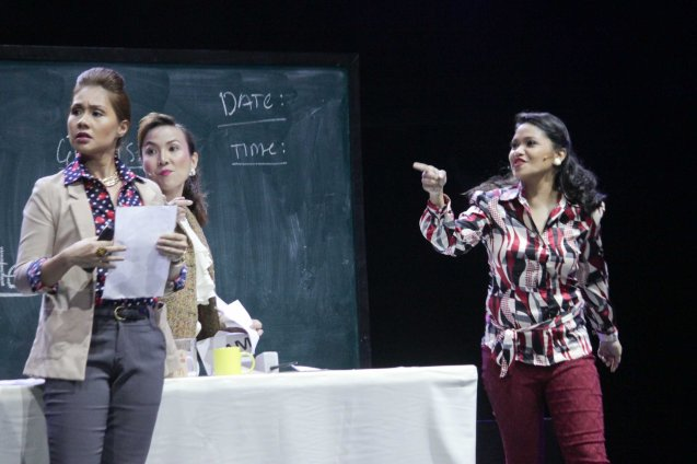 Ensemble from left: Jill Peña, Luani Sablan and Cara Barredo. BITUING WALANG NINGNING is running at the Newport Performing Arts Theater, Resorts World Manila from October 8, 2015 to January 2016. Photo by Jude Bautista