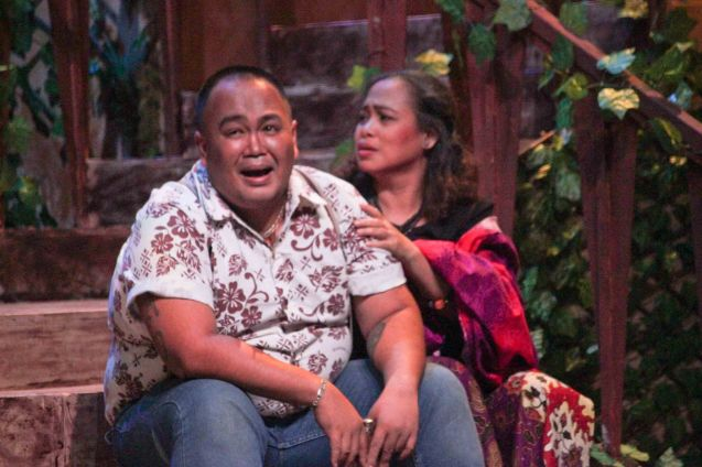Jonathan Tadioan (Kuya Benj) & Carol Bello (Auntie Lili); Kanakan Balintagos' MGA BUHAY NA APOY will run from Oct 2-25, 2015. The TANGHALANG PILIPINO production can be seen at the Tanghalang Aurelio Tolentino of the Cultural Center of the Philippines. Photo by Jude Bautista