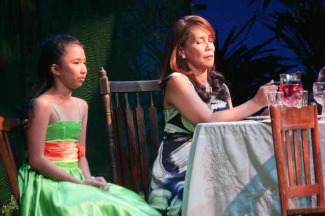 from left: Kyrie Samodio (Topaz) & Irma Adlawan (Leda Santos). Kanakan Balintagos' MGA BUHAY NA APOY will run from Oct 2-25, 2015. The TANGHALANG PILIPINO production can be seen at the Tanghalang Aurelio Tolentino of the Cultural Center of the Philippines. Photo by Jude Bautista