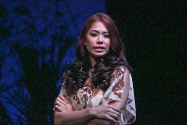 Karen Gaerlan (Aurora Alba); Kanakan Balintagos' MGA BUHAY NA APOY will run from Oct 2-25, 2015. The TANGHALANG PILIPINO production can be seen at the Tanghalang Aurelio Tolentino of the Cultural Center of the Philippines. Photo by Jude Bautista